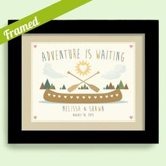Engagement Gift for Newlyweds Wedding Gift Outdoor Lovers Unique Couples Gift Framed Art Print Outdoor Adventure Canoe Camping Hiking