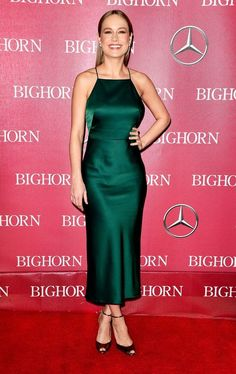 Brie Larson in satin dress by Jason Wu and Brian Atwood ankle-strap heels at Palm Springs International Film Festival Awards Gala 2016