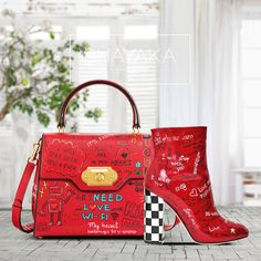 """Dolce & Gabbana Welcome Graffiti Large Satchel Bag in Red Leather and Gold Hardware 