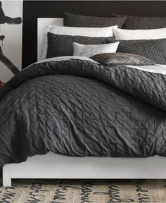Bar III Box Pleat Carbon Collection - Duvet Covers - Bed & Bath - Macy's King Size $139.99 on 12/13/15