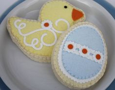Felt Sugar Cookies Yellow Spring Duck And Blue Easter Egg