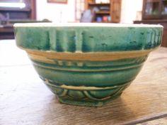 Green Glazed Salesman Sample Bowl