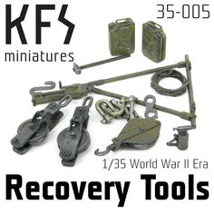 This set contains various tools for WWII Era Allied recovery and tow vehicles. Recommended for Scammell pioneer Unbuilt and unpainted. Dragon Wagon, Recovery Tools, Tow Truck, Trucks, Military Modelling, Heavy Machinery, Tool Set, Scale Models, Wwii