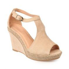 Sandales compensées bi-matière beige