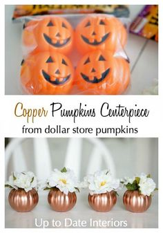 A simple DIY ideas for Halloween that rocks! Transform dollar store pumpkins into a beautiful Copper Pumpkins centerpiece for Fall with this quick and easy DIY. Theme Halloween, Fall Halloween, Halloween Crafts, Modern Halloween, Halloween Table, Dollar Tree Halloween Decor, Dollar Tree Decor, Dollar Store Halloween, Dollar Tree Crafts