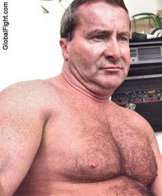 older stocky hippie daddy shirtless