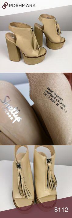 huge discount b2140 d324d Shellys London Tan Sandal High Heels Leather Shellys London Womans Sandal  Tan Platform Heels Sz 38