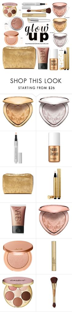 """""""Glow Up: Glam Highlighters"""" by palmtreesandpompoms ❤ liked on Polyvore featuring beauty, Bare Escentuals, Christian Dior, Benefit, LeSportsac, Yves Saint Laurent, NARS Cosmetics, tarte, Estée Lauder and Trish McEvoy"""
