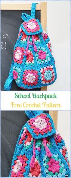 Crochet Granny Square School Backpack Free Pattern - Free P. Crochet Drawstring Bag, Mochila Crochet, Bag Crochet, Crochet Backpack, Crochet Handbags, Crochet Purses, Crochet Beanie, Crochet Gifts, Granny Square Bag
