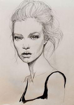 Beautiful fashion illustration - portrait drawing; fashion sketch // Kasia Rei