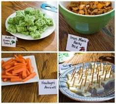 Superhero Party Food. Some good ideas for the snack table