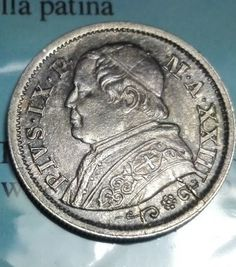 Catawiki online auction house: Papal State - 10 soldi 1868 (Year 23) - variant with broad edge and small R - Pio IX - silver
