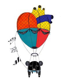 bALLEoon #alle studio #heart #monster #illustration #poster #print #black #air baloon#baloon