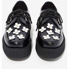 T.U.K. Viva Mondo Leather Creeper ($95) ❤ liked on Polyvore featuring shoes, black, daisy shoes, black shoes, genuine leather shoes, leather shoes and t u k shoes