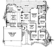 This adobe / southwestern design floor plan is 2945 sq ft and has 4 bedrooms and has 3 bathrooms. Home Design Floor Plans, House Floor Plans, Courtyard House Plans, Adobe House, Monster House Plans, Spanish Style Homes, Spanish Colonial, Ranch House Plans, Southwest Style