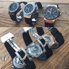 Dream Bigger😜😜😝TrioHublot!  #hublot #trio #watch #watches #timepiece #wristwatch #picoftheday #watchaddict #wristcandy #wristgame #horology #dailywatch #watchpic #watchgeek #watchesofinstagram #instawatch #watchmaking #menswatch #luxurywatch #hautehorlogerie #mechanics #swisswatches #wristshot #watcheslovers #lifestyle #billionaire #champagne #cigar #money #bigbang @todayswatchfashion,