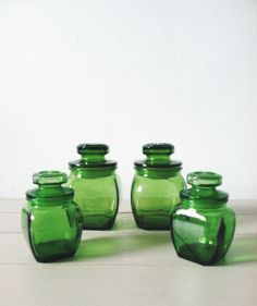 Green Glass Canister Set .