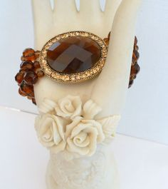 Monet Fashion Brown Bracelet Faceted Glass Beads Rhinestones 3 Strand Stretch #Monet #Statement