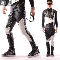 Fashion Male black-and-white PU patchwork Rivet Pants  casual trousers men's clothing costume