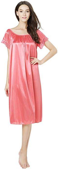 a231d988b020f CHANCEN Women s Short Sleeve Lace Trim Satin Silky Long Nightgown Sleepwear  Dress (Purple) at