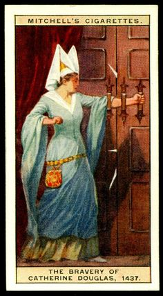 "https://flic.kr/p/bW4wT4 | Cigarette Card - The Bravery of Mary Douglas | Mitchell's Cigarettes  ""Scotlands Story""  (series of 50 issued in 1929) #18 The bravery of Mary Douglas, 1437 ~ who bravely tried to defend King James I by barring a door with her arm, when he was attacked by rebel highlanders, but the King was murdered"