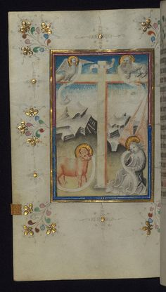 The symbols of the four Evangelists flank the cross, from a fifteenth-century Dutch book of hours (Walters Art Museum Ms. W.165, fol. 113v). (Walters Museum)