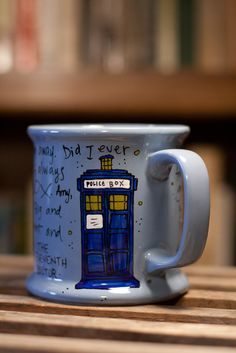 """Ode to the TARDIS - Doctor Who Eleventh Doctor Quote Mug """"Brand new and ancient, and the bluest blue ever."""" Large pale blue mug with TARDIS. $16.00, via Etsy."""