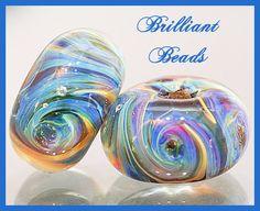 Brilliant Blue Swirls Boro Glass Bead by Gillianbeads on Etsy, $7.00