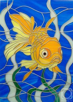 Fantail goldfish in deep blue waters. Can be made at any custom size- Stained Glass Paint, Stained Glass Birds, Stained Glass Panels, Stained Glass Projects, Stained Glass Patterns, Mosaic Art, Mosaic Glass, Glass Art, Glass Animals