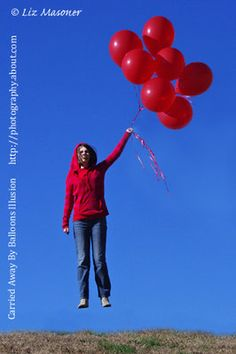 Carried away by balloons illusion for a cute Valentine's Day card
