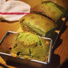 white chocolate and green tea poundcake