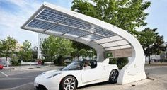 solar-carport with integrated led-light, by mage sunovation in cooperation with the hahner group