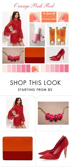 """""""Orange Pink Red"""" by mstrendy01 ❤ liked on Polyvore featuring Dune, rms beauty, Pink, red and orange"""