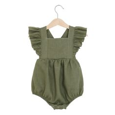 Olive Linen Vintage Romper, baby linen romper, toddler linen romper