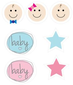 mini printable clipart baby faces, stars, and baby wording. print onto cardstock, trim, add a lollipop stick or toothpick and use in cupcakes, drinks, make confetti, make garland