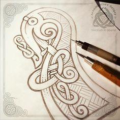 Drakkar's head - snake  (fast pencil sketch, workflow) not approved - наброски головы драккара - язык как по мне немного не удался  вот думаю стоит отрисовать все эскизы и сделать мини-серию ?  #celtic #celticart #celticknot #ornaments #arzarz #emblem #irish #celticartlogo #artwork #drawing #Arzamastsev #siberia #doodle #celticdesign #knotwork #pencil #line #linework #sketch #celticdragon #drawing #draw #эскиз #pencilsketch #workflow #drakkar #snake #viking #illustration #vikingship... Celtic Patterns, Celtic Designs, Viking Designs, Art Viking, Viking Decor, Celtic Dragon, Celtic Tree, Celtic Tattoos, Viking Tattoos