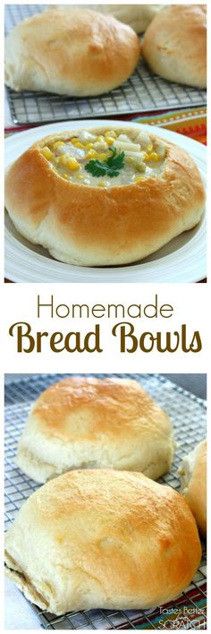 Homemade Bread Bowls from TastesBetterFromScratch.com are soo easy to make and go well with any type of soup! ! #bread #breadbowl