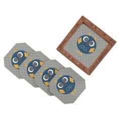 Vy La Geo Owl Solo Blue Coaster Set | DENY Designs Home Accessories