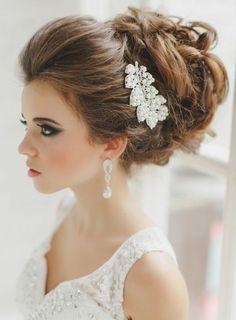 romantischer Haarschmuck Braut Spange Brautfrisuren Dutt