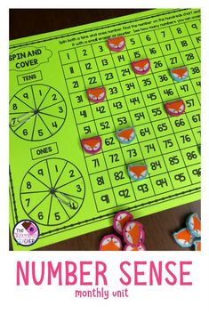 First grade number sense activities. This unit is a perfect daily activity for your students. It has a daily practice sheet and 5 independent student centers. Students will work with a hundreds chart and will be practice place value, greater than, less