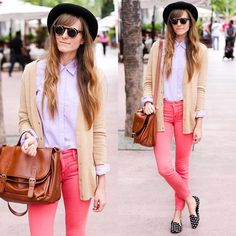 Colored pants + dotted shoes.  (by Steffy Kuncman) http://lookbook.nu/look/3897726-colored-pants-dotted-shoes