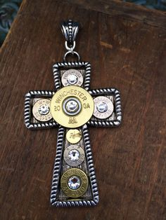"Bullet Jewelry - ""Make a Statement"" Cross Pendant Filled w/ Bullets on Etsy, $29.95"