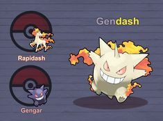 Poke Fusion - Gendash by PokeFusionMan on DeviantArt Solgaleo Pokemon, Ghost Type Pokemon, Pokemon Fusion Art, Pokemon People, Pokemon Pokedex, Eevee Evolutions, Curious Creatures, Character Art, Nerdy