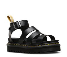 Blaire is our latest spin on the gladiator: an airy Dr. Martens sandal with a slight wedge for height, a padded collar for comfort, a lightweight ripple sole and — unlike most sandals — a sturdy, durable Goodyear welt. Dr Martens Vegan, Red Doc Martens, Doc Martens Style, Doc Martens Outfit, Doc Martens Boots, Dr Martens Sandals, Chunky Sandals, Black Sandals, Gladiator Sandals