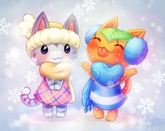 Animal Crossing New Leaf Cat Villagers Lolly and Tangy :3