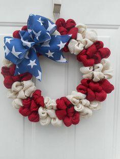 Patriotic burlap wreath Burlap Patriotic wreath Americana wreath Americana decor Patriotic decor Stars n Stripes wreath Memorial day RTS