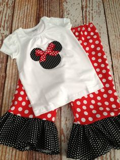 871bb40c2eb73 Girl s Minnie Mouse Outfit - Minnie Mouse Birthday Outfit - Disney Outfit -  Ruffle Pants - Baby Girl