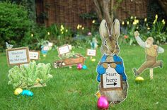 Don't forget the all important easter egg hunt! http://www.partypieces.co.uk/easter/easter-party-themes/easter-peter-rabbit-party/peter-rabbit-egg-hunt-kit.html