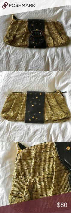 Vintage Chloe clutch Beautiful gold metal beads.  Vintage.  Note that some of the gold studs on the purse have become tarnished and some are missing but the clutch is still gorgeous and looks amazing with a nice outfit.  Priced to sell. Chloe Bags Clutches & Wristlets