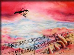 Music Gives You Wings - Watercolor Painting - Arches Coldpress 140lb - 22x30